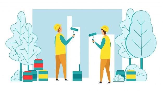 Erbauer, die hausmauer mit farben-rollen malen