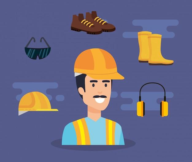 Erbauererbauer mit ausrüstung