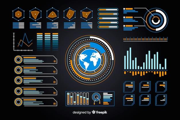 Erdanzeige in der futuristischen infographic sammlung