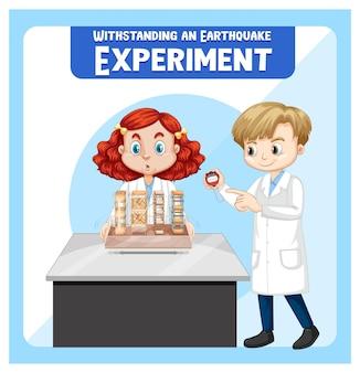 Erdbeben-experiment mit wissenschaftler-kinder-cartoon-charakter standhalten