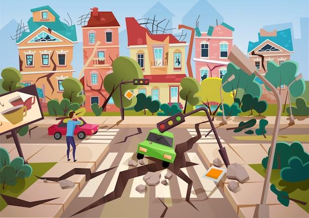 Erdbebenkatastrophe mit realistischen bodenspalten und kleinem zerstörten stadthausdesign