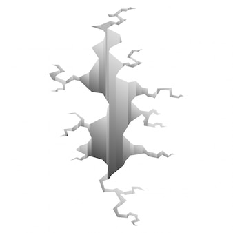 Erdbebenriss. loch im boden mit rissen und erdzerstörungsrissen isolierter cartoon. schaden bricht oberfläche isoliert auf weiß