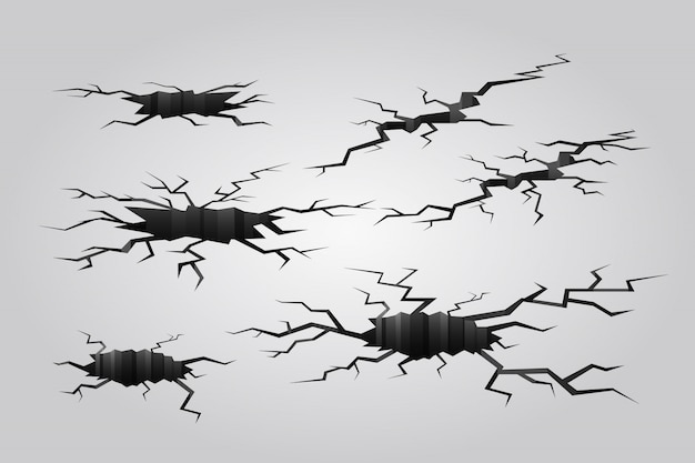 Erdbebenriss. zerstörte mauer, loch im boden und zerstörungsrisse.