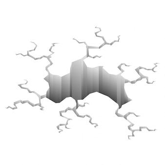 Erdbebenrisse. locheffekt und rissige oberfläche. loch im boden mit rissen und erdzerstörungsrissen isolierter cartoon. illustration
