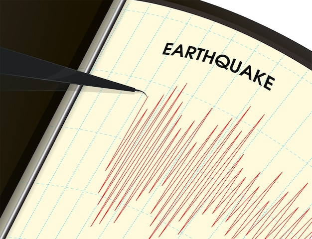 Erdbebenüberwachungstool die schwingungsmessung wird als rote linie dargestellt.