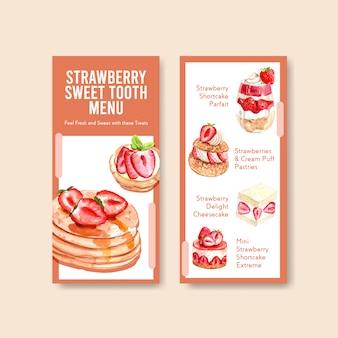 Erdbeer-backen-flyer-schablonendesign mit pfannkuchen-, käsekuchen- und shortcake-aquarellillustration