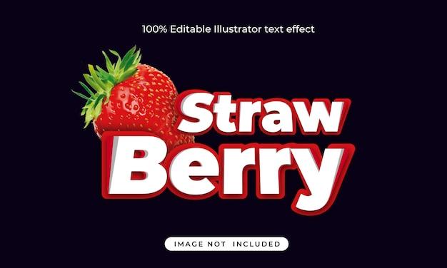 Erdbeer bearbeitbarer texteffekt