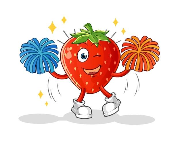 Erdbeer-cheerleader-karikatur
