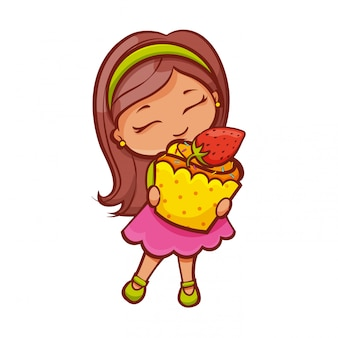 Erdbeer-cupcake-mädchen