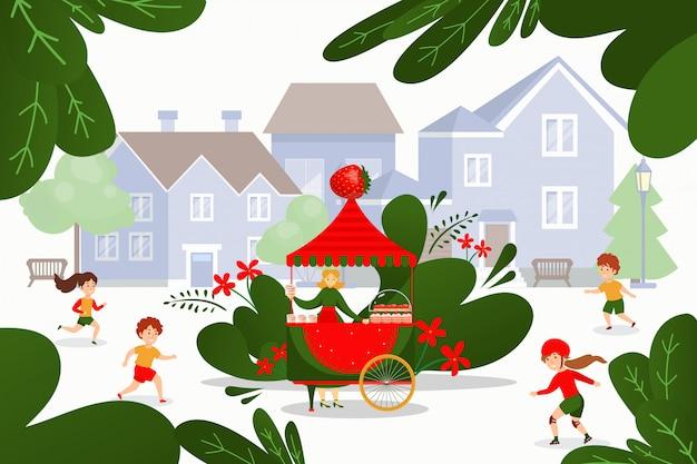 Erdbeer-dessert-straßenlebensmittelwagen, illustration. frau charakter verkaufen leckere erdbeerkuchen und gericht im freien.