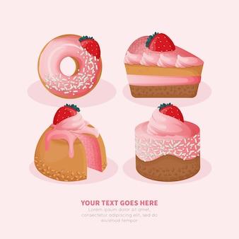 Erdbeer-desserts-sammlung