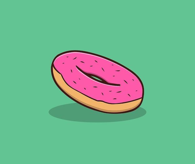 Erdbeer donut handzeichnung illustration