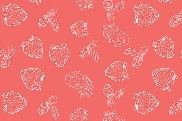 Erdbeer doodle nahtlose muster