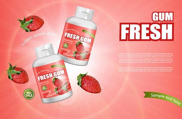 Erdbeer kaugummi flasche banner