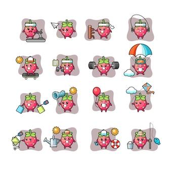 Erdbeer-kawaii-charakter-aktivitätssatz
