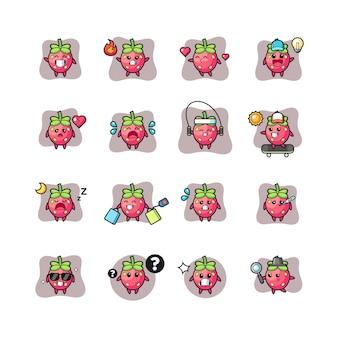 Erdbeer kawaii charakter pose set