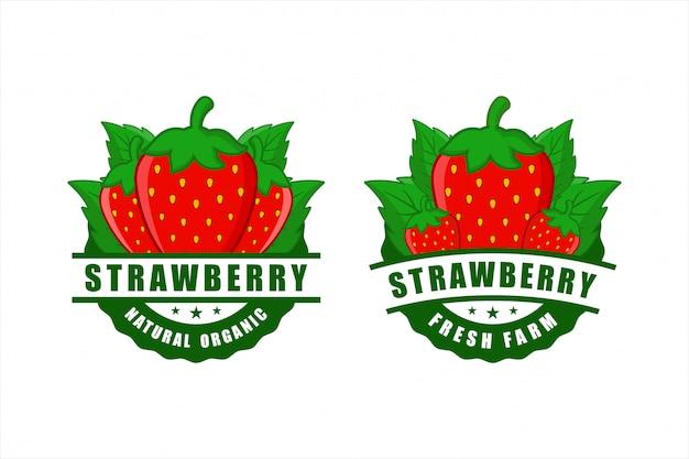 Erdbeer natürliche bio fram frische abzeichen design