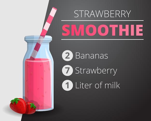 Erdbeer-smoothie-hintergrund, karikaturstil