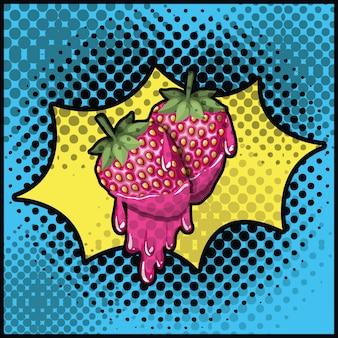 Erdbeer süße tropft pop-art-stil