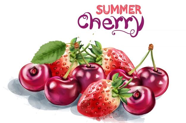 Erdbeer- und kirschaquarell