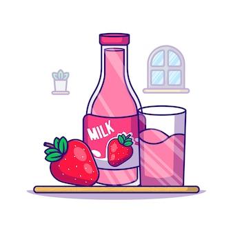 Erdbeer- und milchflaschen-karikaturillustration. weltmilch-tag-symbol-konzept weiß isoliert. flacher cartoon-stil