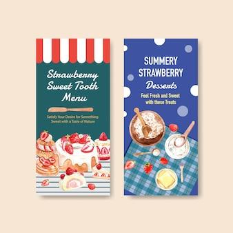 Erdbeerbacken-flyer-schablonendesign für broschüre mit zutat, geschmack, käsekuchen und waffelaquarellillustration
