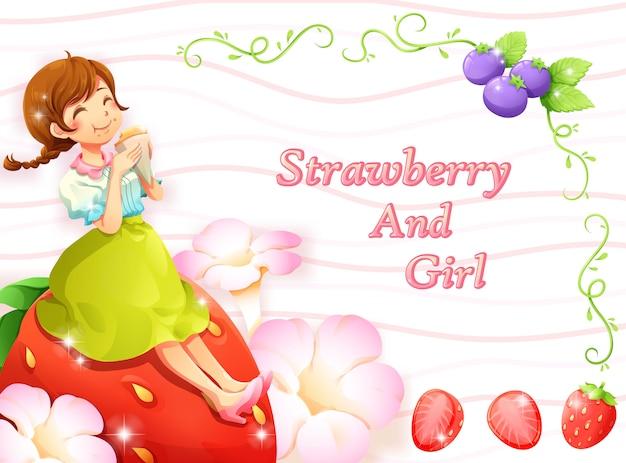 Erdbeerblaubeer- und -mädchenrahmenhintergrund