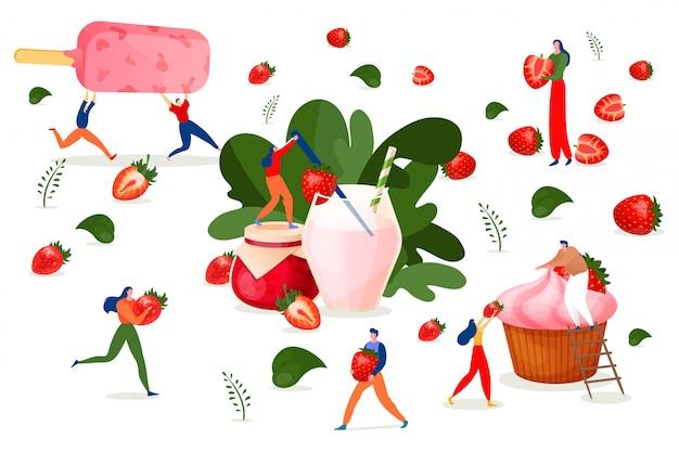 Erdbeerdessert, obstküche, illustration. menschen zeichentrickfigur mit süßem essen, beeren frisch kulinarisch. mann frau