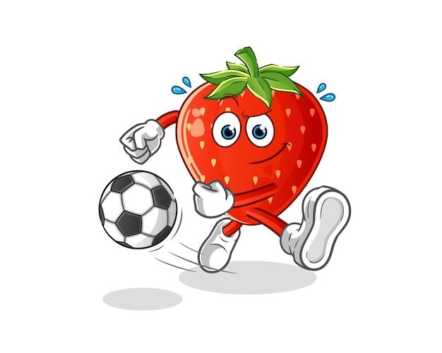 Erdbeere, die den ballkarikatur tritt