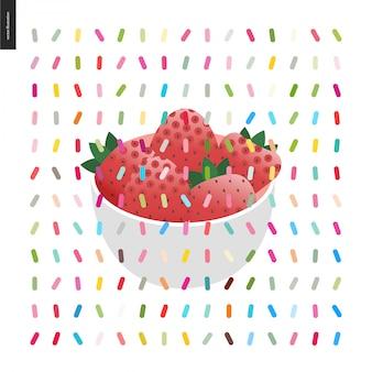 Erdbeere in der schüssel und in einem nahtlosen muster