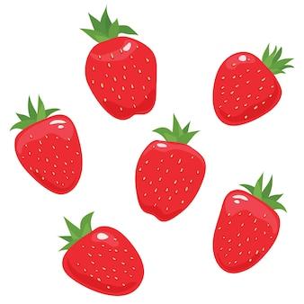 Erdbeere isoliert auf weißem hintergrund. erdbeer-set. vektor-illustration