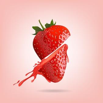 Erdbeere lokalisiert auf rosa hintergrund, vektorillustration.