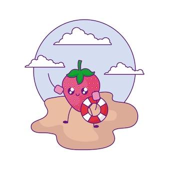 Erdbeere mit flößen im strand kawaii