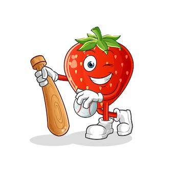 Erdbeere spielt baseball