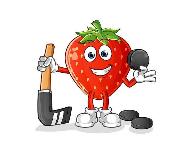 Erdbeere spielt hockey