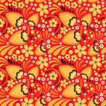 Erdbeere und blumen im khokhloma-stil