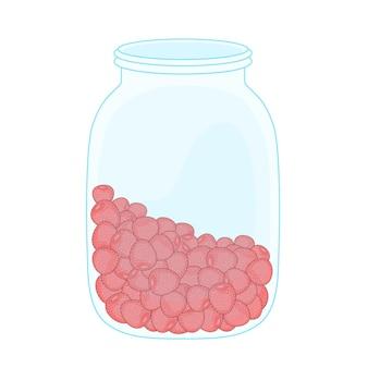 Erdbeere und erdbeere in der transparenten glasvektorillustration lokalisiert auf weißem hintergrund.