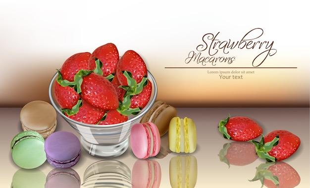 Erdbeere und makronen