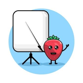 Erdbeere wird zu einem niedlichen charakterlogo des lehrers
