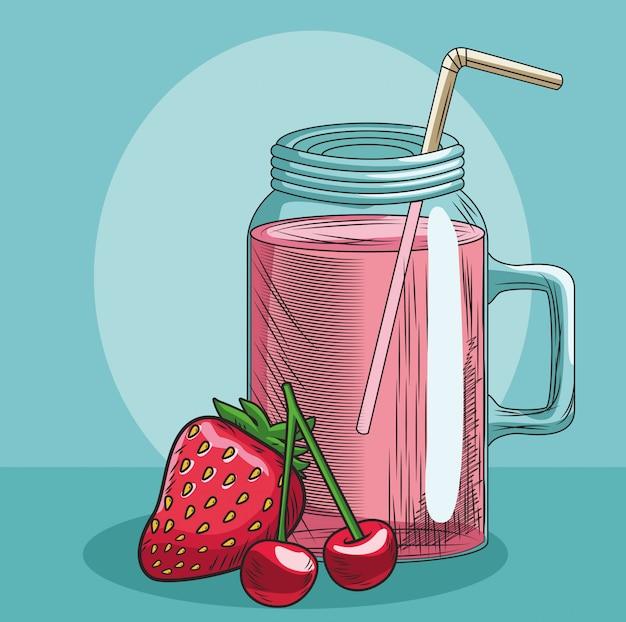 Erdbeeren der frischen frucht und kirschsaftbecher