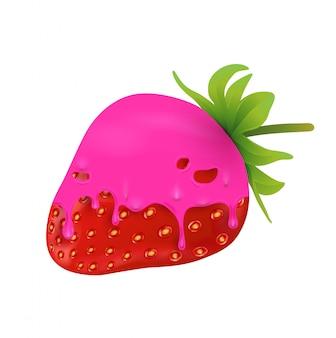 Erdbeeren mit süßer rosa schmelze