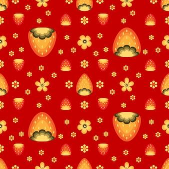 Erdbeerfelder im khokhloma-volksstil