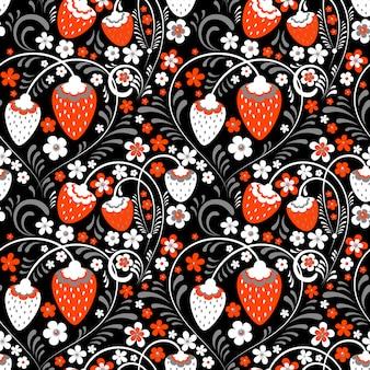 Erdbeerfelder in der russischen volksart