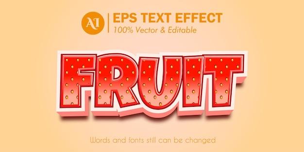 Erdbeerfrucht 3d bearbeitbarer texteffekt