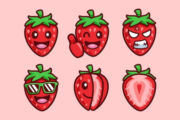 Erdbeerfrucht-cartoon-charakter-sammlung
