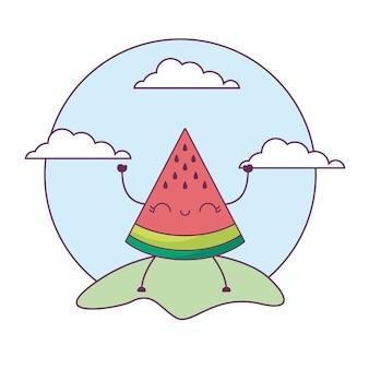 Erdbeerfrucht kawaii in der landschaft