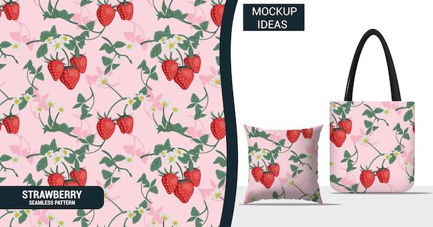 Erdbeerfrucht und blumen nahtloses muster
