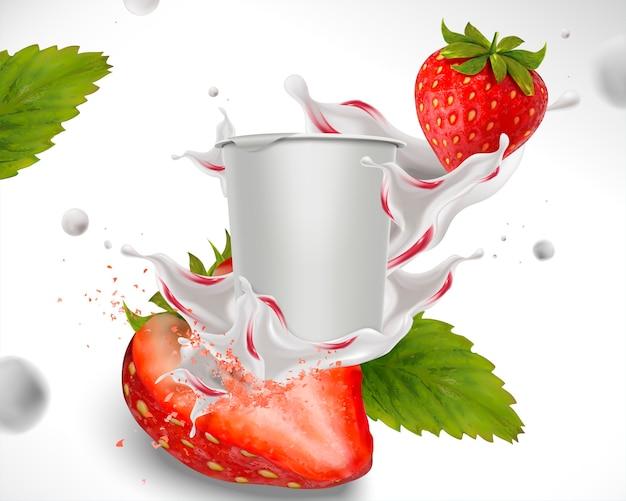 Erdbeerjoghurt mit frischem obst und tassenbehälter bespritzen