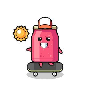 Erdbeermarmelade-charakterillustration fährt ein skateboard, süßes design