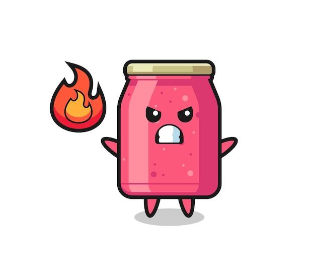 Erdbeermarmelade-charakterkarikatur mit wütender geste, süßem design